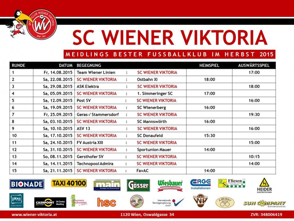 SC Wiener Viktoria Matchplan Herbst 2015